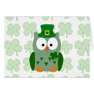 St. Patrick's Day Owl Card