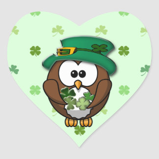St. Patrick's Day owl Heart Sticker