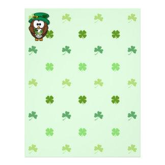 St. Patrick's Day owl Letterhead Template