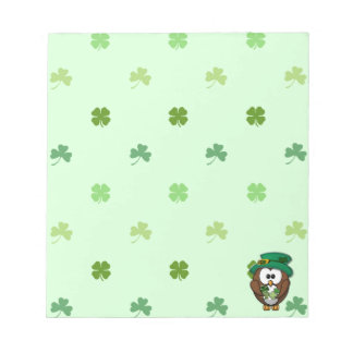 St. Patrick's Day owl Note Pads
