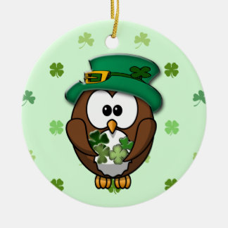 St. Patrick's Day owl Christmas Ornament