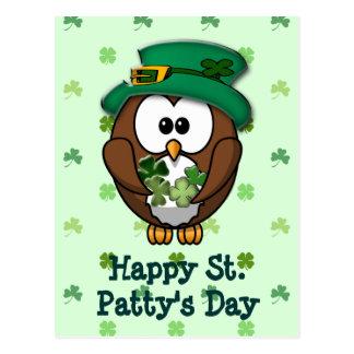 St. Patrick's Day owl Postcard