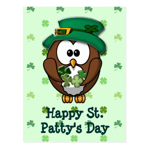 St. Patrick's Day owl Post Card