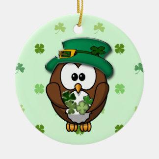 St. Patrick's Day owl Round Ceramic Ornament