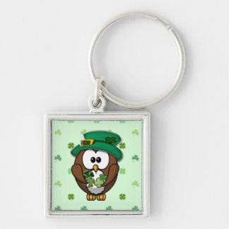 St. Patrick's Day owl Silver-Colored Square Keychain