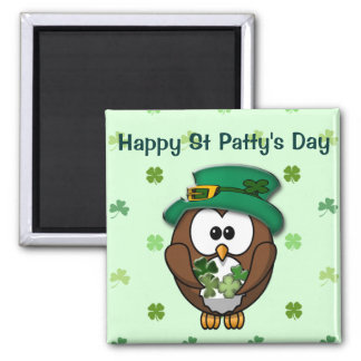 St. Patrick's Day owl Square Magnet