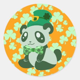 St. Patrick's Day Panda Round Stickers