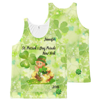 St. Patrick's Day Parade YOUR NAME & CITY & YEAR All-Over-Print Tank Top