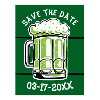St. Patrick's Day Party Green Beer Save the Date Postcard