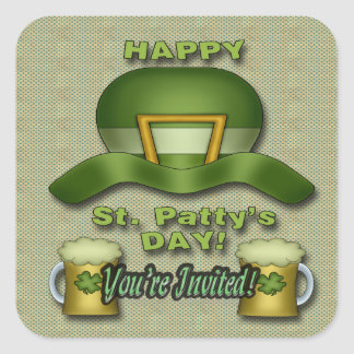 St. Patrick's Day Party Invitation envelope seal Square Sticker