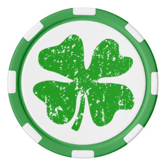 St Patricks Day party poker chips | Green shamrock