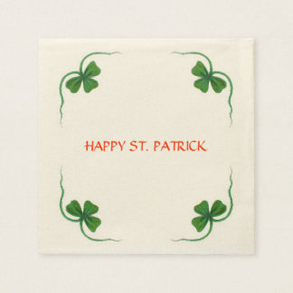 ST PATRICK'S DAY PARTY shamrock white green Disposable Napkins