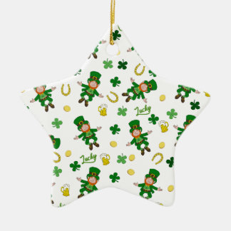 St Patricks day pattern Ceramic Ornament