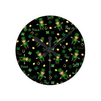 St Patricks day pattern Round Clock