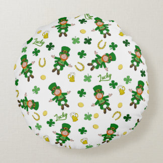 St Patricks day pattern Round Pillow