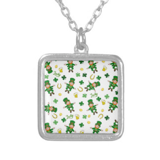 St Patricks day pattern Silver Plated Necklace