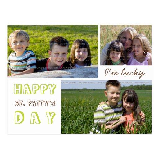 st patrick 39 s day photo collage postcard template zazzle. Black Bedroom Furniture Sets. Home Design Ideas