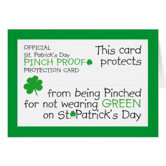 St. Patrick's Day Pinch Protection Card