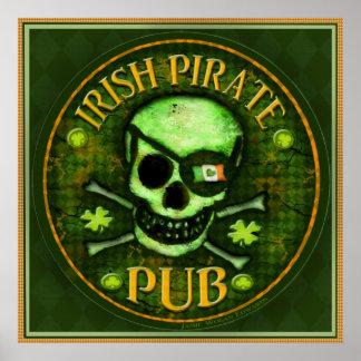 St Patrick's Day Pirate Pub Skull Art Print Poster