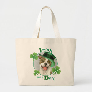 St. Patrick's Day Pit Bull Large Tote Bag
