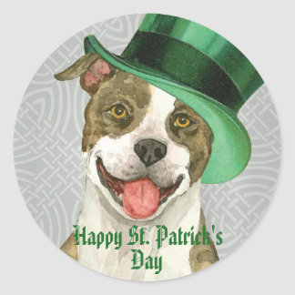 St. Patrick's Day Pit Bull Round Sticker