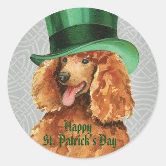 St. Patrick's Day Poodle Round Sticker