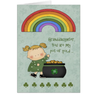 St. Patrick's Day, Pot of Gold, Granddaughter Card
