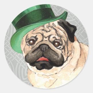 St. Patrick's Day Pug Round Sticker