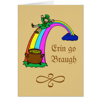 St.-Patrick's Day rainbow pot of gold leprechaun Note Card