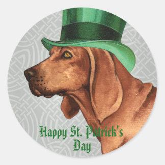 St. Patrick's Day Redbone Round Sticker