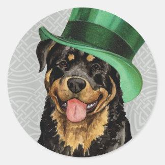 St. Patrick's Day Rottweiler Classic Round Sticker