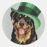 St. Patrick's Day Rottweiler Round Sticker