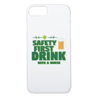 St Patrick's Day Safety First Drink With A Nurse iPhone 8/7 Case