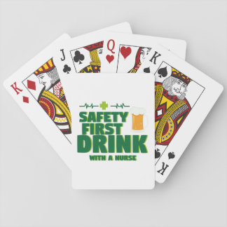 St Patrick's Day Safety First Drink With A Nurse Playing Cards