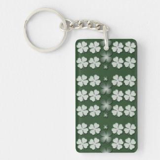 St Patricks Day shamrock clover pattern Rectangular Acrylic Key Chain
