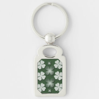 St Patricks Day shamrock clover pattern Silver-Colored Rectangle Keychain