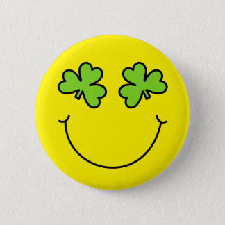 St Patrick's Day Shamrock Eyes Smiley Face 2 Inch Round Button
