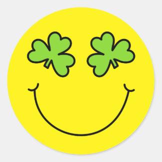 St Patrick's Day Shamrock Eyes Smiley Face Classic Round Sticker
