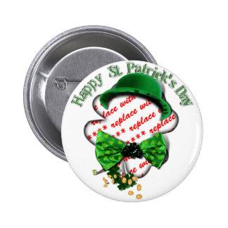 St Patrick's Day Shamrock Frame w/Adjustable Tie 2 Inch Round Button