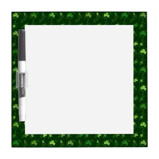 St. Patrick's Day Shamrock Pattern Dry Erase White Board