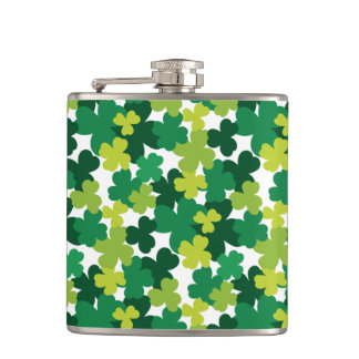 St. Patrick's Day Shamrock Pattern Hip Flask