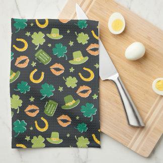 St. Patrick's Day Shamrock Pattern Kitchen Towel