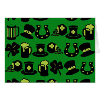 St Patricks Day Shamrock Pot of Gold Green Beer Note Card