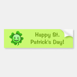 St. Patrick's Day Shamrock Smiley Bumper Sticker