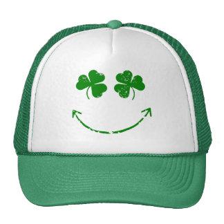 St Patrick's Day Shamrock Smiley face humor Mesh Hats