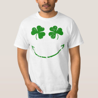 St Patrick's Day Shamrock Smiley face humor T-Shirt