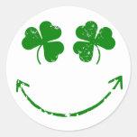 St Patrick's Day Shamrock Smiley face humour Round Sticker