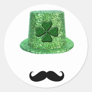St. Patrick's Day Shamrock Sparkle Hat & Mustache Sticker