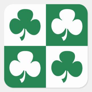 St Patrick's Day Shamrock Square Sticker
