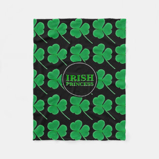 St. Patrick's Day Shamrocks   Irish Princess Hers Fleece Blanket